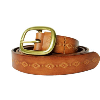 Vintage Carved Belt (Caramel)