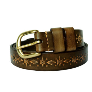 Vintage Carved Belt (Olive)